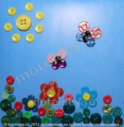 Аппликация из пуговиц. Цветы и бабочки