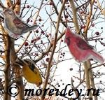 Бумажные птички для распечатки и вырезания, распечатать елочные игрушки - птички