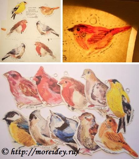 Бумажные птички для распечатки и вырезания