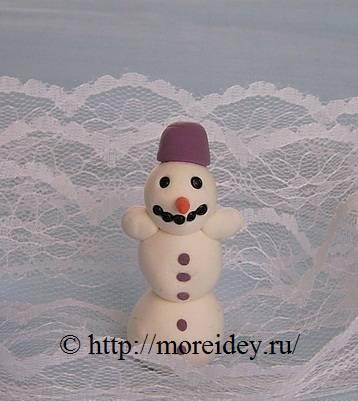 Детская поделка снеговик, поделки к Новому году, лепим снеговика