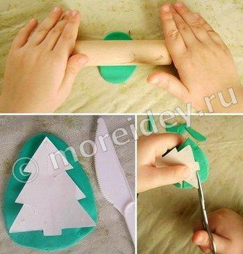 МК поделка на елку из пластилина или из соленого теста