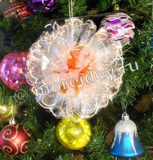 Как сделать поделку к Новому году елочный шарик из фантиков