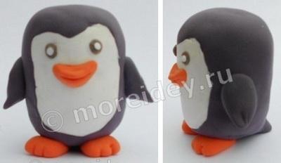 Поделка пингвин из киндера и пластилина
