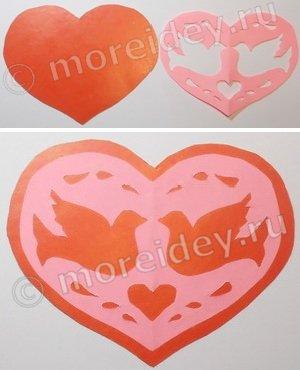 Ажурное вырезание сердечки (вытынанки)