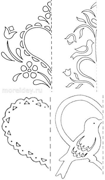 Схемы вытынанок - ажурных сердечек из бумаги
