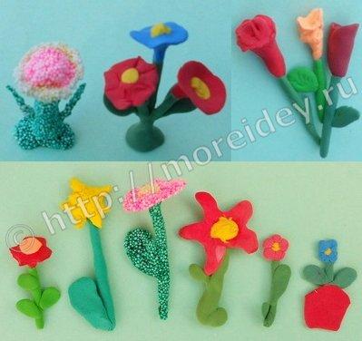 Детские поделки цветы из пластилина и массы для лепки