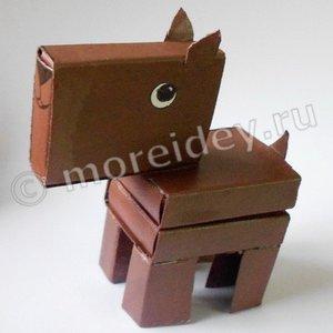Поделка собачка из спичечных коробок