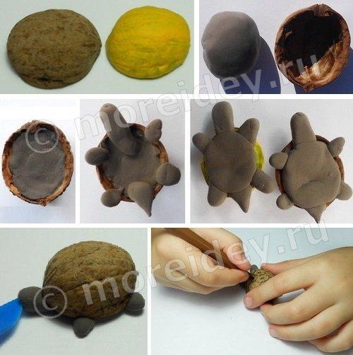 черепаха - поделка из скорлупы ореха