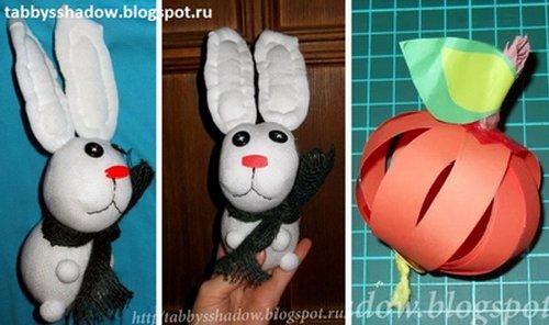 Поделки по сказкам Сутеева - игрушка зайчик из носка и яблоко из бумажных полосок