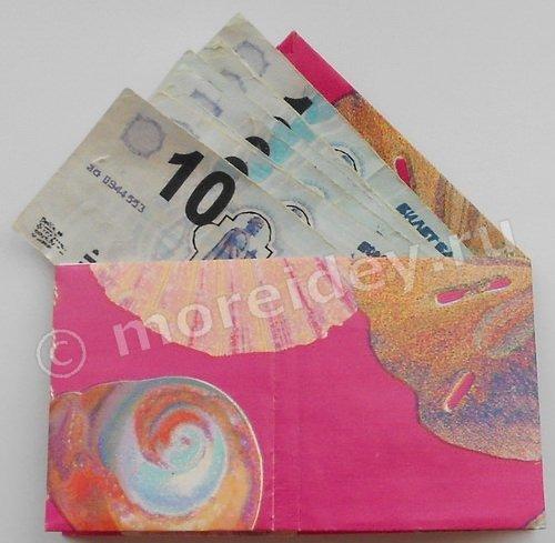 бумажный кошелек и деньги для игры в магазин