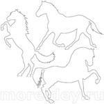 Контуры трафареты шаблоны лошадей