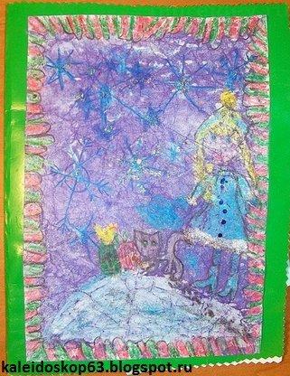 Новогодняя открытка с объемной елочкой внутри