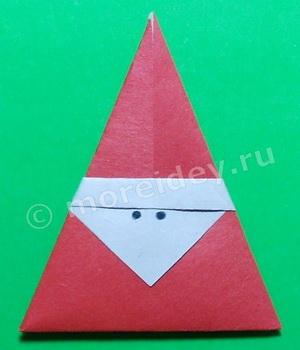 Простые модели оригами для детей и начинающих - дед Мороз