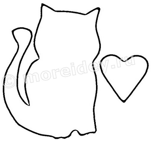 Поделка котик с сердечком. Шаблон