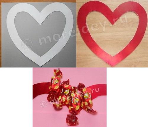 Сердце из конфет своими руками мастер класс