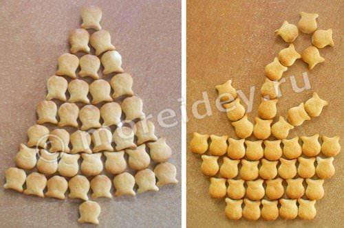 Съедобные поделки: поделки из печенья - елочка и цветок