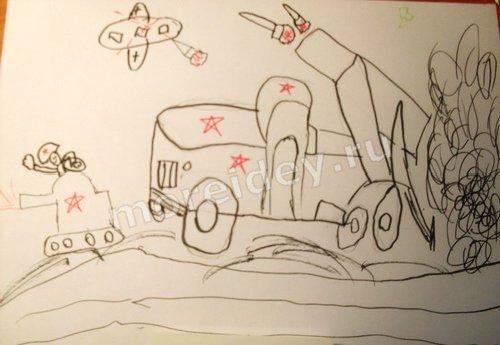детский рисунок к 23 февраля или 9 мая
