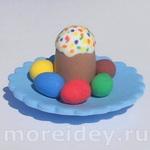 Еда для кукол: пасхальный кулич и крашенные яйца. Мастер класс