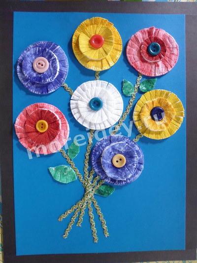 Поделка цветы из ватных палочек и дисков