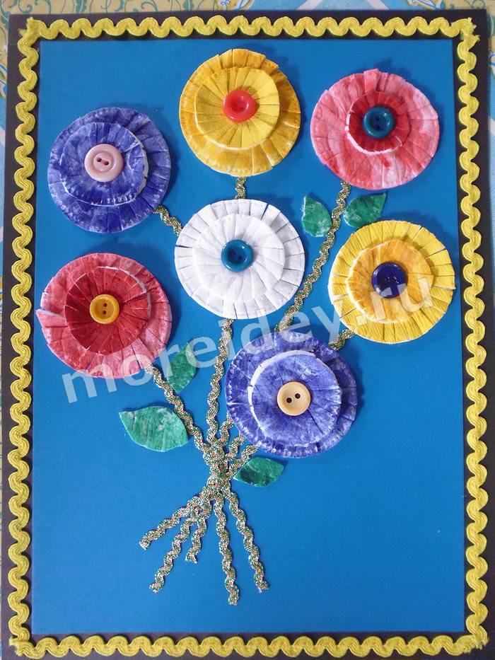 Аппликация цветы из ватных дисков