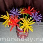 Букет «астрочки» — поделка с цветами из бросового материала