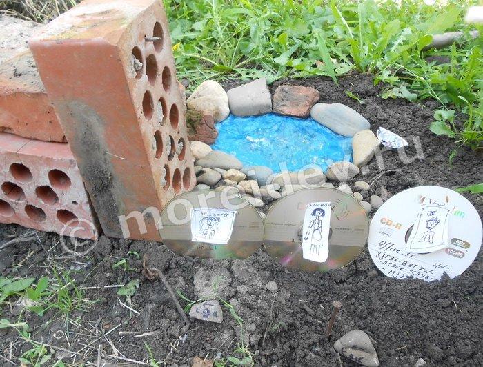 Детская садовая уличная композиция (инсталляция, поделка в технике лэнд-арт) «Дом с озером (прудом)»