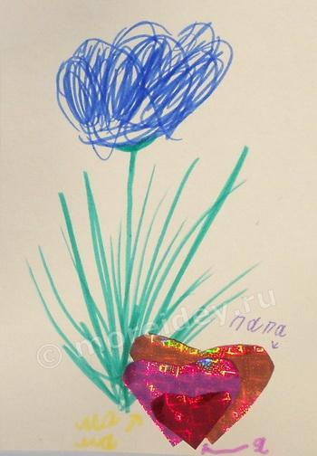 Нарисованный цветок для открытки