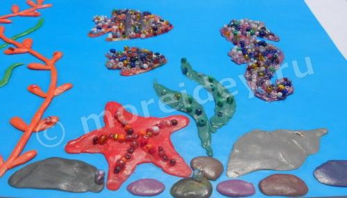 Пластилинография с бисером: поделка подводный мир и подводные обитатели