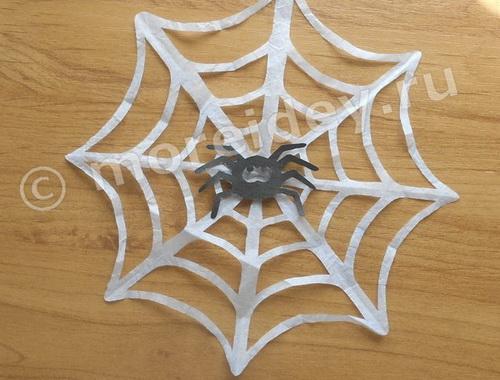 Как сделать паука на паутине из бумаги