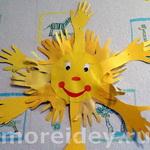 Солнышко — поделки и рисунки из ладошек