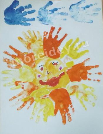 Рисунки ладошками: солнышко