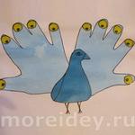 Птицы — поделки и рисунки из ладошек — 1