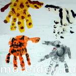 Животные (звери) — поделки и рисунки из ладошек — 1