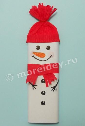 Снеговик из шоколадки своими руками