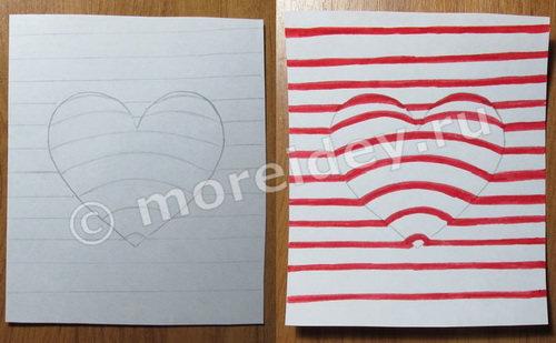 как нарисовать объемный 3D-рисунок сердечко