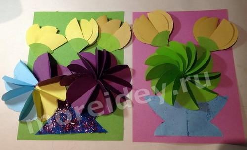 открытка с объемными цветами своими руками