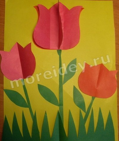 тюльпаны объемная аппликация
