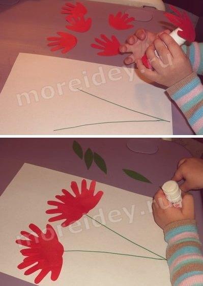 Поделка ко Дню Победы 9 мая для малышей из ладошек