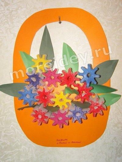 Весенние поделки с детьми: корзина цветов аппликация