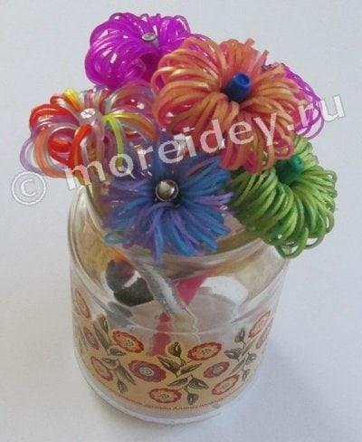 цветы - фигурки на карандаш из резинок