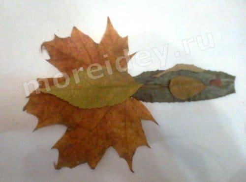 детские картины из листьев