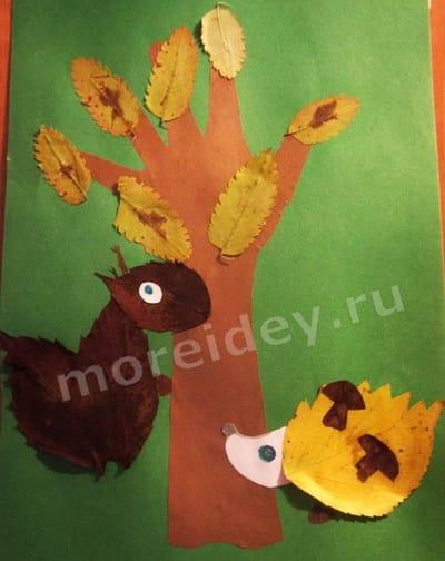 аппликация из листьев животные