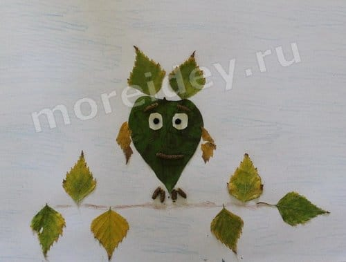 аппликация из засушенных листьев