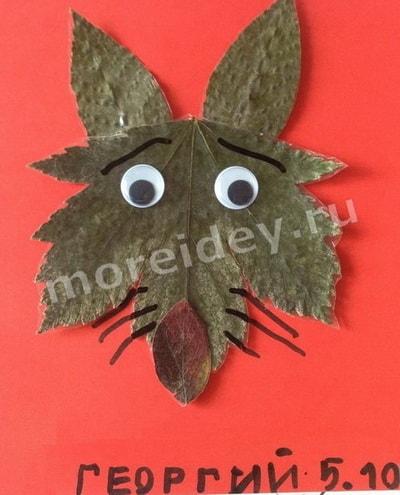 аппликация из листьев животные: волк