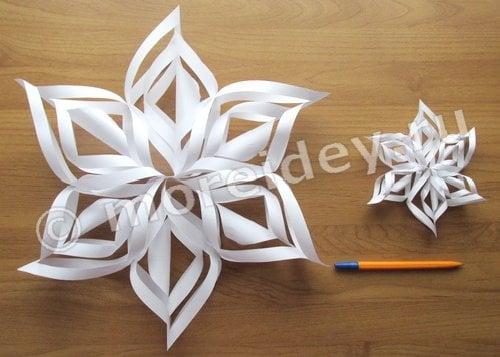 Обемная снежинки из бумаги своими руками