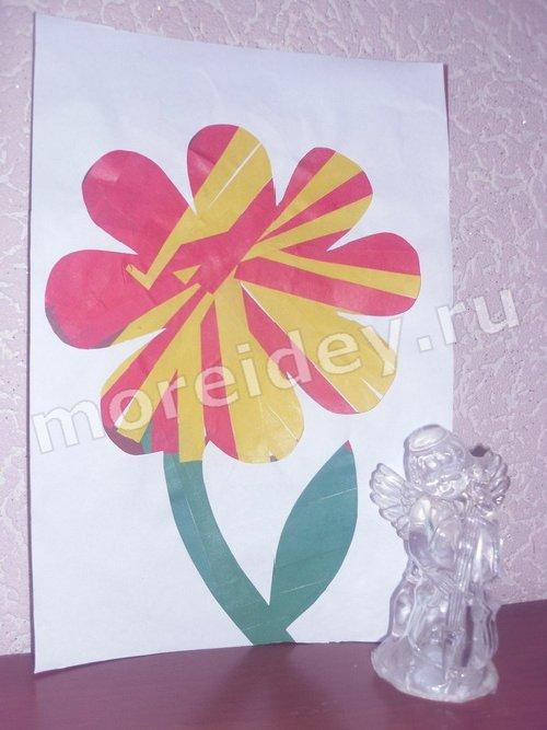 аппликация цветы из бумаги