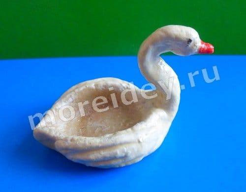 поделка из соленого теста лебедь