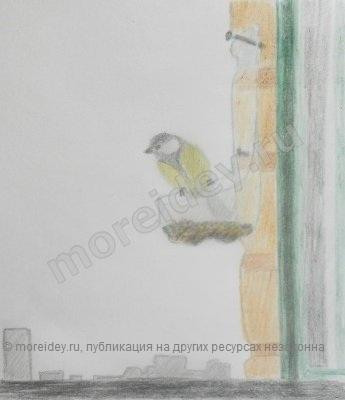 Кормушка для птиц за окном