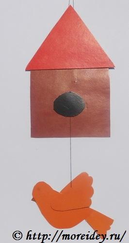 весенняя и летняя поделка птичка в скворечнике