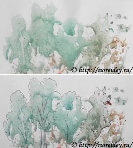 """Монотипия для детей, как сделать монотипию, монотипия картинки """"Волк в лесу"""""""